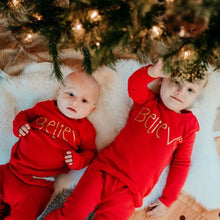 Load image into Gallery viewer, Believe Christmas Kids Pajamas (Red)