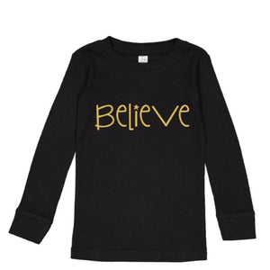 Believe Christmas Kids Pajamas (Black)