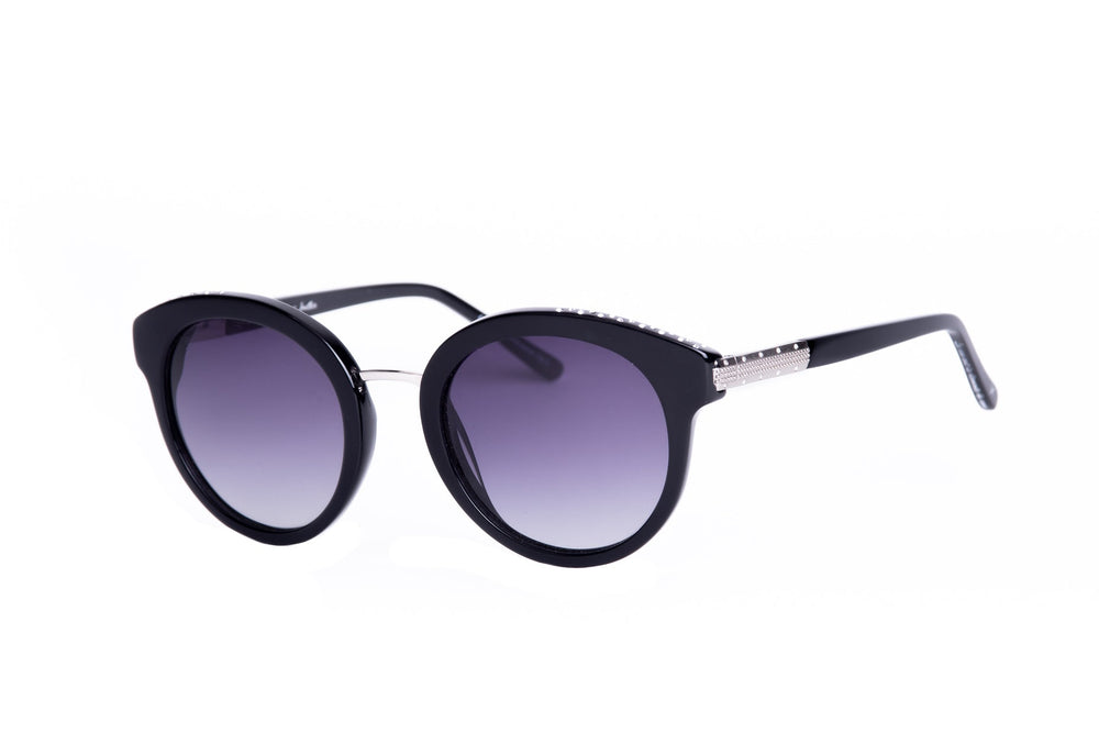 MAU-1711-01-BLACK-GRADIENT GREY POLARIZED LENS-DOTS OF STRASS AROUND THE CIRCLES AND ON TEMPLES