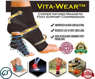 Vita-Wear Copper Infused Magnetic Foot Support Compression Original Quality Fast - Buy One and Get One Free Offer!!!
