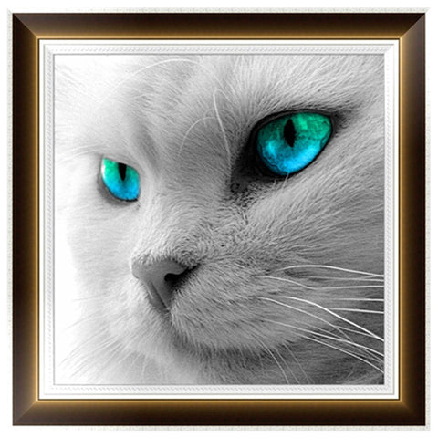 Blue/Green Eyed cat, DIY Diamond Painting Kit