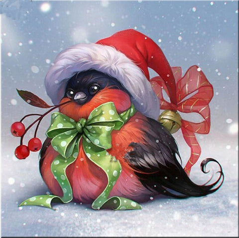 Christmas Santa Hat Bird, DIY Diamond Painting Kit