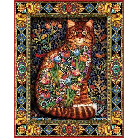 Stained Glass Cat with Flowers, DIY Diamond Painting Kit