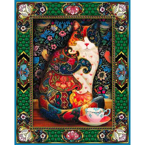 Stained Glass Cat with Tea, DIY Diamond Painting Kit