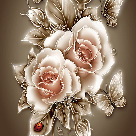 White roses and butterfly, DIY Diamond Painting Kit