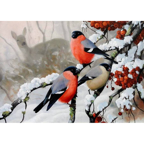 Winter Birds and Deer in the Snow and Berries, DIY Diamond Painting Kit