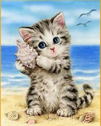 Beach Cat and Shell, Kitten in the Flowers, DIY Diamond Painting Kit