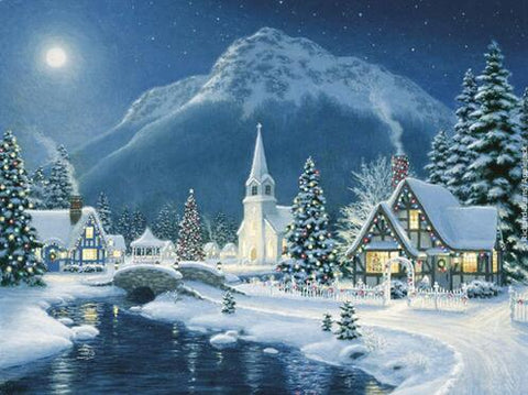 Winter Landscape, Mountain, Church, Pine Trees, DIY Diamond Painting Kit