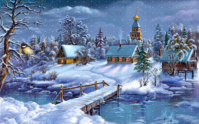 Winter Scene with Church, DIY Diamond Painting Kit