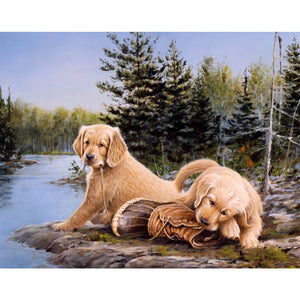 Golden Retriever Puppies, DIY Diamond Painting Kit