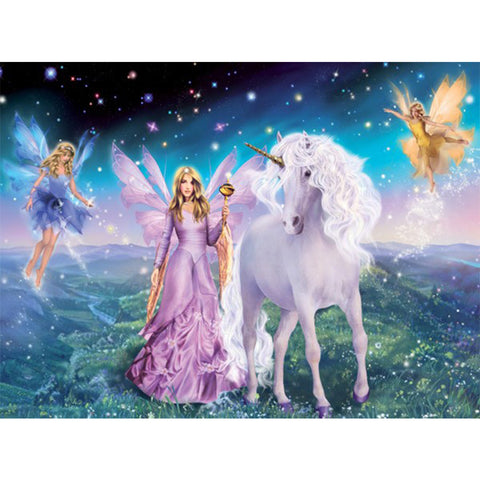 Unicorn and three Fairies, DIY Diamond Painting Kit