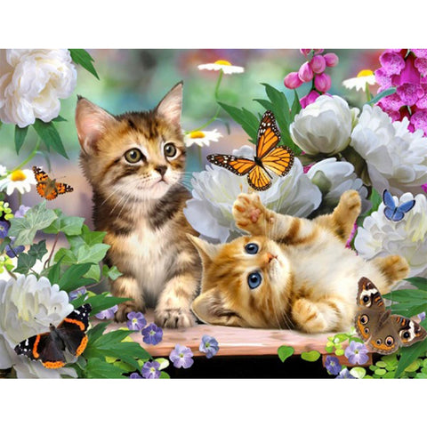 Kittens, Flowers, and Butterflies, DIY Diamond Painting Kit