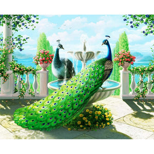 Peacocks and Fountain, DIY Diamond Painting Kit