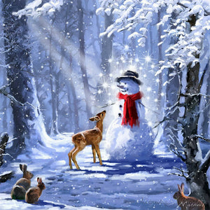 Snowman and Deer in Winter, DIY Diamond Painting KIt