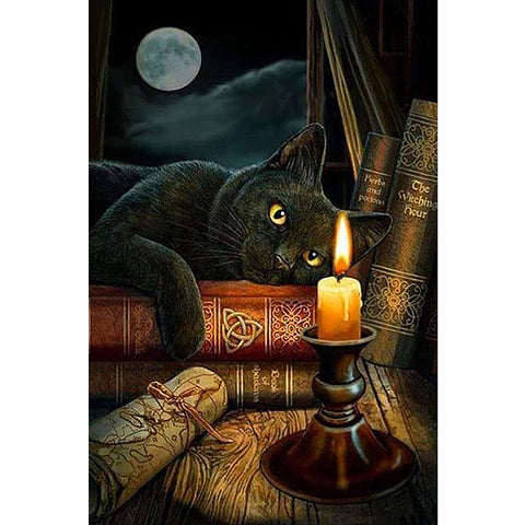 Cat laying on a Book with a Full Moon, DIY Diamond Painting Kit