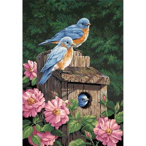 Birds on a Bird House, DIY Diamond Painting Kit