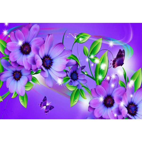 Purple Flowers with Butterfly, DIY Diamond Painting Kit