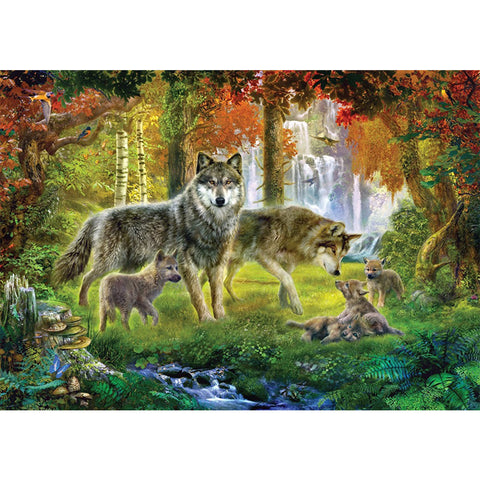 Wolf Family in the Woods, DIY Diamond Painting Kit