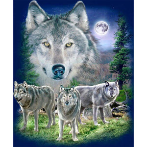 Wolves and a Full Moon, DIY Diamond Painting Kit