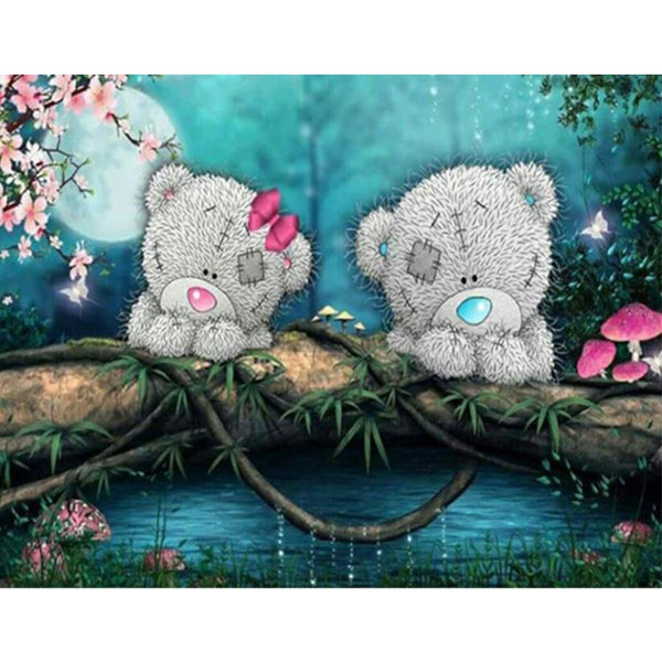 Teddy Bear Boy and Girl in the Moonlight, DIY Diamond Painting Kit