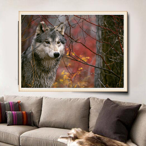 Wolf in the Woods, DIY Diamond Painting Kit