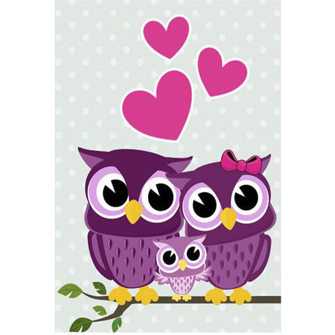 Owl Family Love, DIY Diamond Painting Kit, Crystal Cross Stitch, Diamond Embrodery