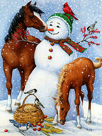 Snowman with Animals and Barn, Horse, Dog, Chicken, DIY Diamond Painting Kit