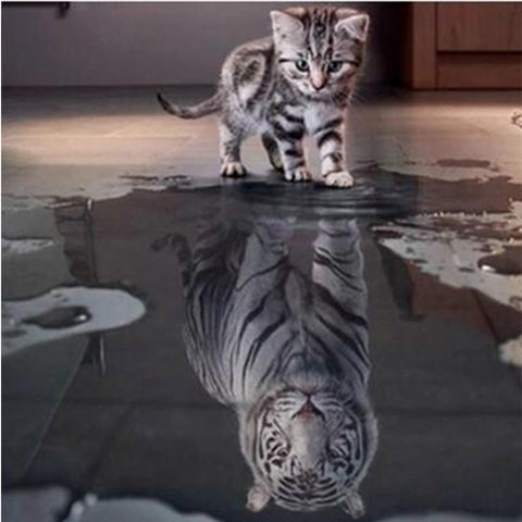 Cat and White Tiger Reflection, DIY Diamond Painting Kit, Crystal Cross Stitch, Diamond Embrodery
