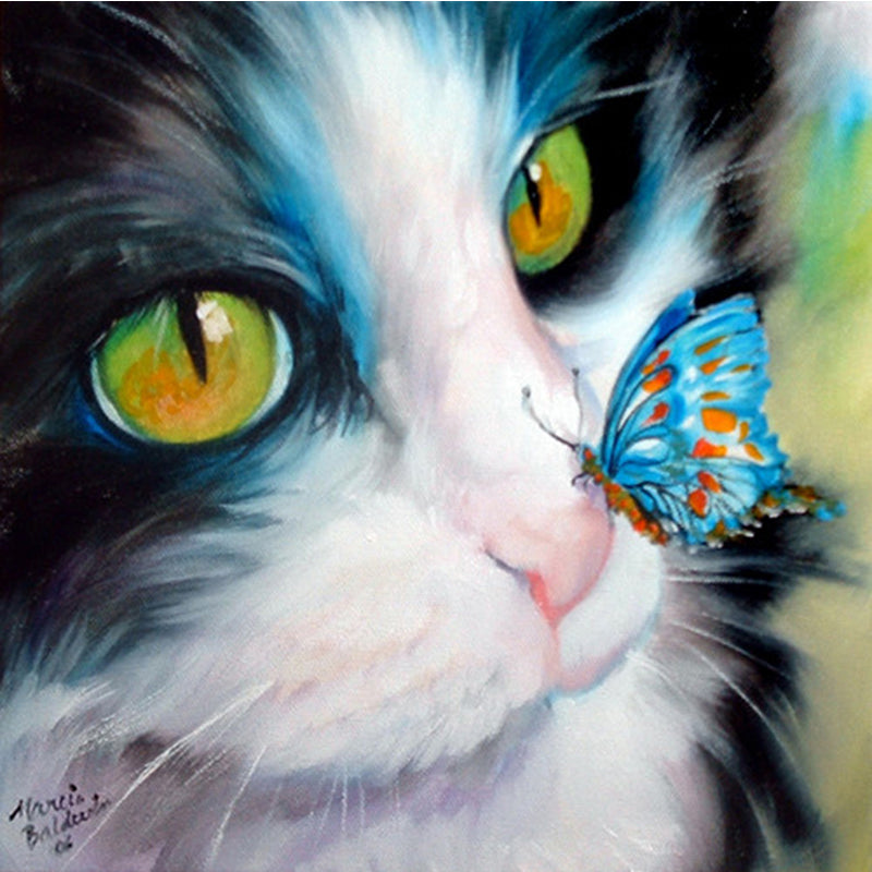 Cat and butterfly, DIY Diamond Painting Kit, Crystal Cross Stitch, Diamond Embroidery