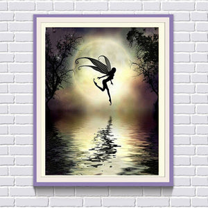 Fairy Girl in the Moonlight, DIY Diamond Painting Kit, Crystal Cross Stitch, Diamond Embroidery