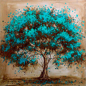 Teal Tree, DIY Diamond Painting Kit, Crystal Cross Stitch, Diamond Embroidery