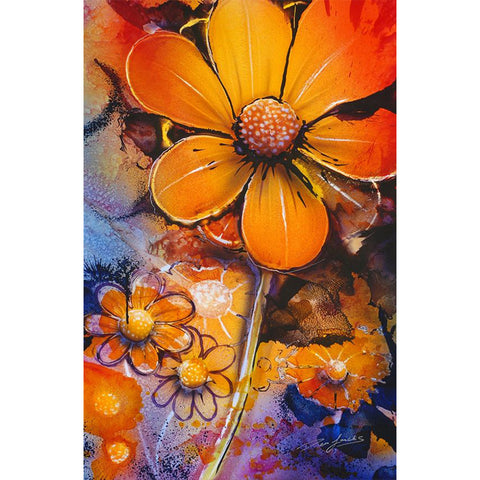 Orange Flowers, DIY Diamond Painting Kit, Crystal Cross Stitch, Diamond Embroidery