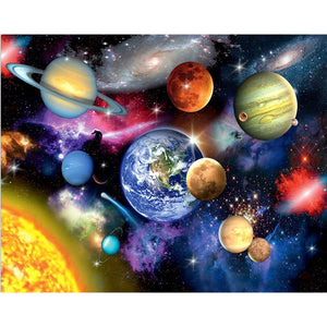 Solar System, Plants, DIY Diamond Painting Kit, Crystal Cross stitch, Diamond Embroidery