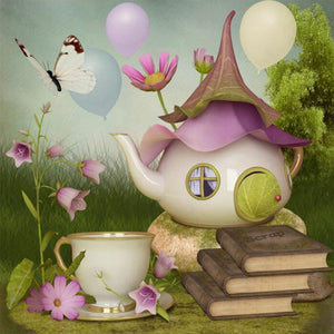 Teapot, Fairy house, with books, butterflies and balloons, DIY Diamond Painting Kit, Crystal Cross stitch, Diamond Embroidery