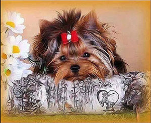 Yorkshire Terrier, Yorkie, Birch Log, Daisies, DIY Diamond Painting Kit, Crystal Cross stitch, Diamond Embroidery