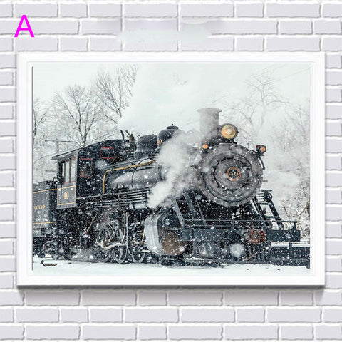 Locomotive in the Snow, Train, DIY Diamond Painting Kit