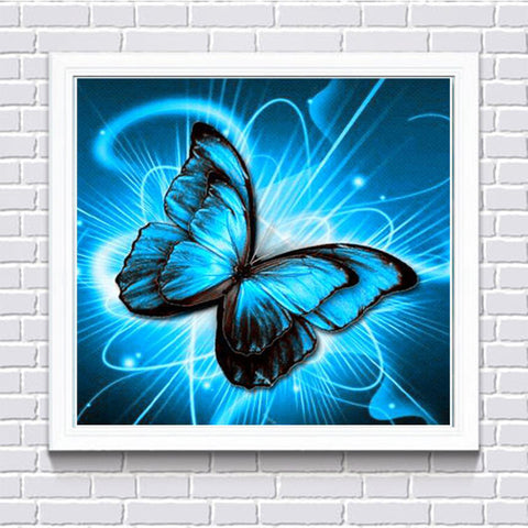 Blue Psychedelic Butterfly, DIY Diamond Painting Kit