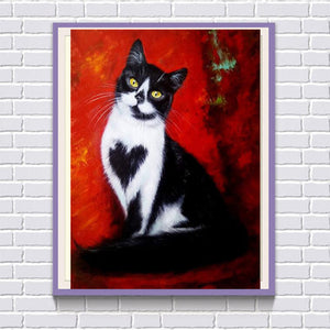 Black and White Cat with Heart, DIY Diamond Painting Kit