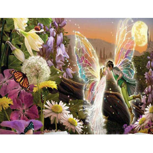 Boy and Girl Fairies Kissing, DIY Diamond Painting Kit