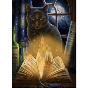 Black Cat Reading, DIY Diamond Painting Kit