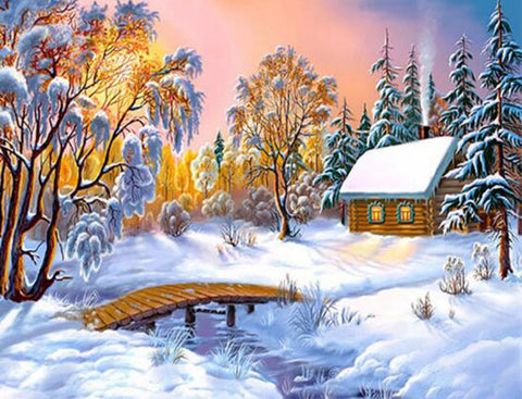Cabin in the Woods, with a Bridge in the Snow, DIY Diamond Painting Kit