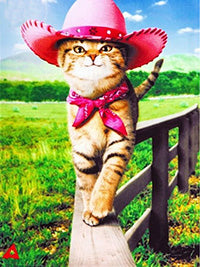 Cowboy Hat Cat on a Fence, DIY Diamond Painting Kit