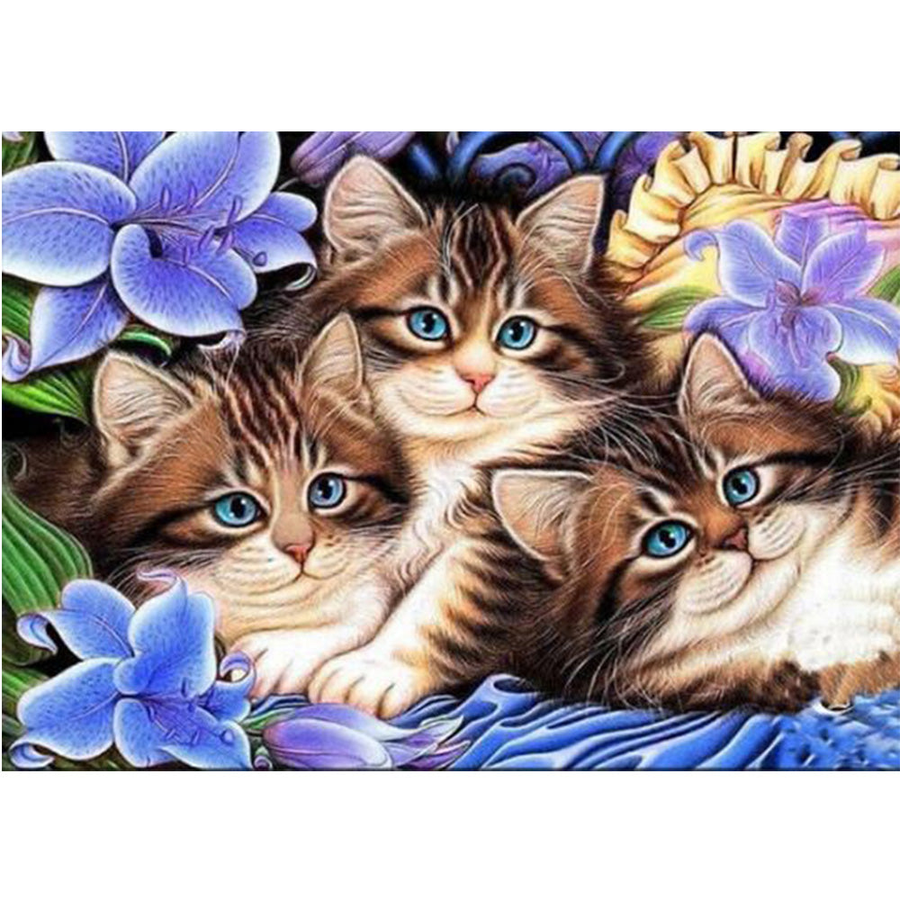 Three Cats and Purple Flowers, DIY Diamond Painting Kit