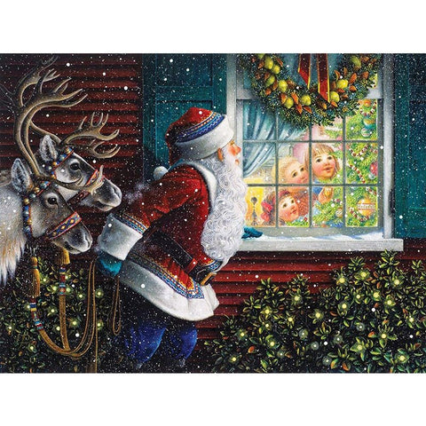 Santa peeking through the Window, DIY Diamond Painting Kit