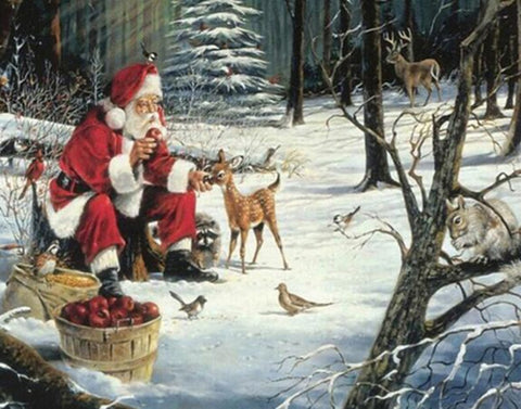 Santa in the Woods with Deer, Birds, Apples, DIY Diamond Painting Kit