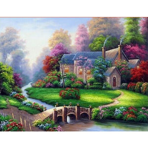 Cabin in the Woods with Bridge, DIY Diamond Painting Kit