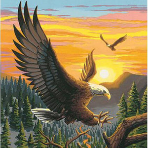 Bald Eagles Flying in the Sunset, DIY Diamond Painting Kit