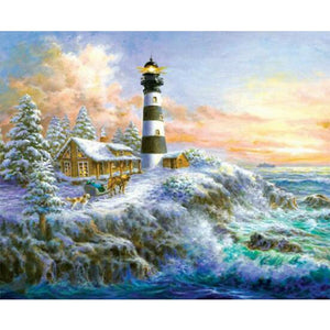 Cabin with Light House, Waves on Rocks, Winter Trees, DIY Diamond Painting Kit