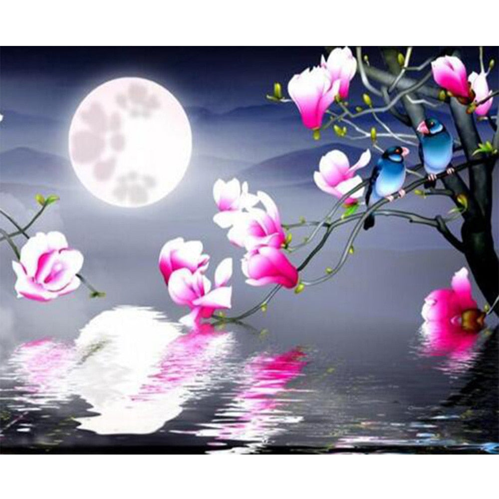 Pink Flowers glowing in the Moonlight, DIY Diamond Painting Kit