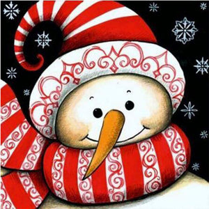 Snowman with Red and White Hat and Scarf, DIY Diamond Painting Kit
